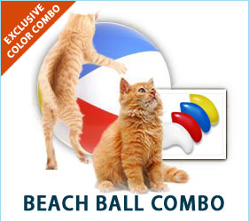 While sporting our Beach Ball Combo nail caps, your cat can dream about chasing and batting at colorful balls all day long.
