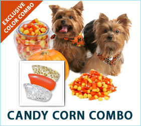 You should keep your real Halloween candy away from your dog. But our Candy Corn Combo nail caps are a perfectly safe way to include your dog in the holiday fun.
