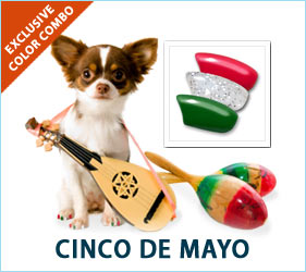 Humans aren't the only ones who love Cinco de Mayo. Your pooch can show Mexican pride with these festive nail caps.