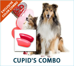 "Love (and a bit of fur) is in the air! Red and pink: for the pup that said, ""Be mine"" and stole your heart!"