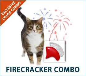 Is your cat vibrant and fun-loving? If so, our Firecracker Combo is for you! You'll both be feeling festive when your feline pal struts around in these sparkly silver and red nail caps.