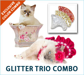 All that glitters is not gold. In fact, with our Glitter Trio Combo, it's silver, gold, and pink glitter that will match your favorite feline's glittering personality.