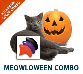 Deck your cat out in Halloween fun with our Meowlloween Combo. Orange, purple, and black nail caps will put you and your feline friend in the mood for some spooky celebration.