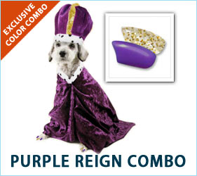 Your dog treats you like royalty every day. Decking your canine pal out in our Purple Reign combo lets you share the spoiling with your royal buddy.