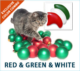 Deck the halls! And deck out your cat's toes, too, with our festive Red, Green, & White nail cap combo.