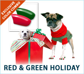 The colors of the holidays shouldn't be restricted to the non-canine crowd. Make sure your pooch feels included this holiday by using our Red & Green nail cap combo.