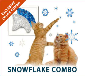 Softly falling snow is beautiful, magical, and peaceful. You can enjoy the feeling every time you see your cat when you have your furry friend's nails done in the Snowflake Combo.