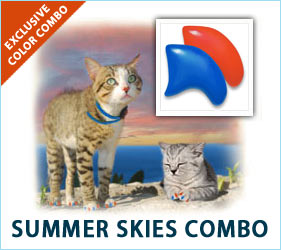 There's nothing quite like the beauty of a summer sky. Pale blues and deep oranges mean it's time for warmth and fun. Your cat will fit right in with summertime's beauty wearing our Summer Skies nail cap combo.