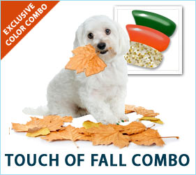 The gentle color changes of autumn look beautiful in nature. They'll look amazing on your dog, too, when you apply our Touch of Fall nail cap combo to those cute canine paws.