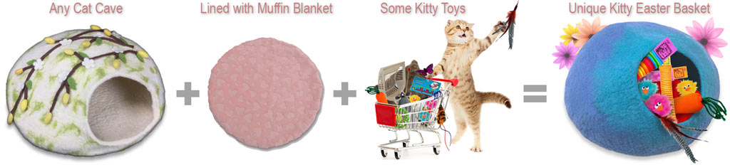 Any Cat Cave lined with a Muffin Blanket, sprinkled with Kitty Toys, makes a unique Kitty Easter Basket.